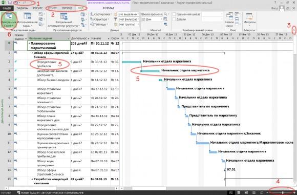 Интерфейс Microsoft Project 2013 изменился